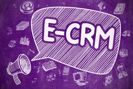 E-CRM - Electronic Customer Relationship Management on Speech Bubble. Cartoon Illustration of Screaming Megaphone. Advertising Concept.