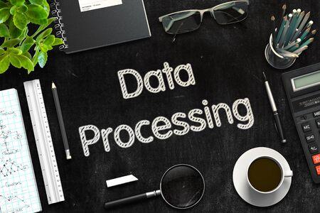 data processing: Data Processing on Black Chalkboard. 3d Rendering. Toned Illustration.