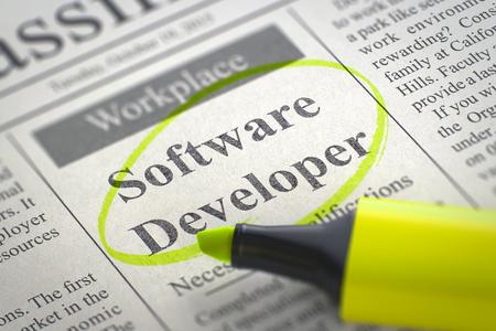 Software ontwikkelaar. Krant met de vacature, omcirkeld met een gele markering. Wazig beeld. Selectieve aandacht. Job Search Concept. 3D Render. Stockfoto