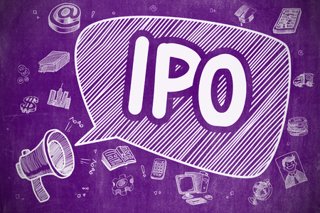 initial public offerings: Business Concept. Megaphone with Inscription IPO - Initial Public Offering. Hand Drawn Illustration on Purple Chalkboard.