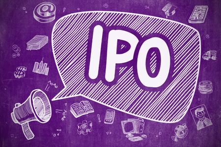 Concept d'affaire. Mégaphone avec inscription IPO - Initial Public Offering. Hand Drawn Illustration sur Chalkboard Violet. Banque d'images - 66727476