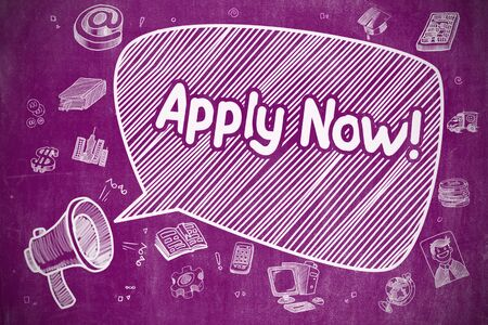 limited access: Business Concept. Mouthpiece with Phrase Apply Now. Hand Drawn Illustration on Purple Chalkboard. Apply Now on Speech Bubble. Hand Drawn Illustration of Shrieking Loudspeaker. Advertising Concept. Stock Photo