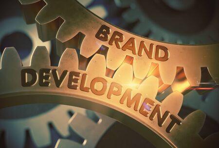 alteration: Brand Development on the Golden Cogwheels. Brand Development on the Mechanism of Golden Metallic Cogwheels with Glow Effect. 3D Rendering.