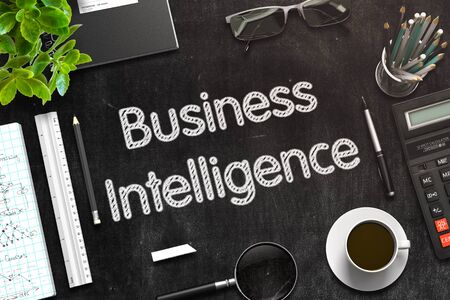 Business Intelligence. Business Concept Handwritten on Black Chalkboard. Top View Composition with Chalkboard and Office Supplies. 3d Rendering. Toned Image. Фото со стока