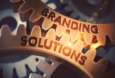 attract attention: Branding Solutions - Technical Design. Branding Solutions on the Mechanism of Golden Cogwheels with Lens Flare. 3D Rendering. Stock Photo
