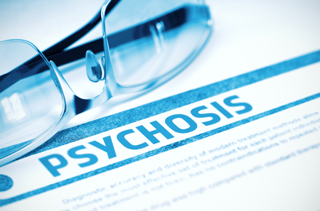 psychosis: Psychosis - Medical Concept with Blurred Text and Spectacles on Blue Background. Selective Focus. 3D Rendering.