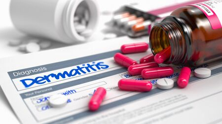 itching: Dermatitis Text in Anamnesis. Close View of Medicine Concept. Handwritten Diagnosis Dermatitis in the Disease Extract. Medicaments Composition of Red Pills, Blister of Pills and Bottle of Tablets. 3D.