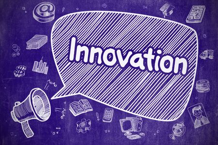 commencement: Innovation on Speech Bubble. Doodle Illustration of Yelling Bullhorn. Advertising Concept. Speech Bubble with Phrase Innovation Doodle. Illustration on Blue Chalkboard. Advertising Concept.