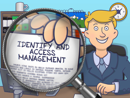 offiice: Identify and Access Management. Happy Officeman Sitting in Offiice and Showing Concept on Paper through Magnifying Glass. Colored Doodle Style Illustration. Stock Photo