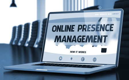 online internet presence: Laptop Display with Online Presence Management Concept on Landing Page. Closeup View. Modern Meeting Room Background. Toned Image. Selective Focus. 3D Illustration.