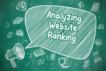 targetting: Analyzing Website Ranking on Speech Bubble. Cartoon Illustration of Shouting Horn Speaker. Advertising Concept. Stock Photo