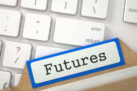 futures: Futures. Orange Folder Register on Background of White Modern Keypad. Business Concept. Closeup View. Blurred Image. 3D Rendering. Stock Photo