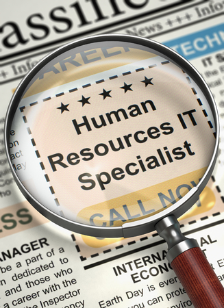 Newspaper with Jobs Human Resources IT Specialist. Magnifying Glass Over Newspaper with Vacancy of Human Resources IT Specialist. Job Search Concept. 3D Illustration. Stock Photo