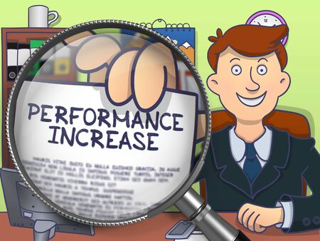 throughput: Performance Increase. Officeman Sitting in Office and Holding a through Magnifying Glass Paper with Concept. Colored Doodle Style Illustration. Stock Photo