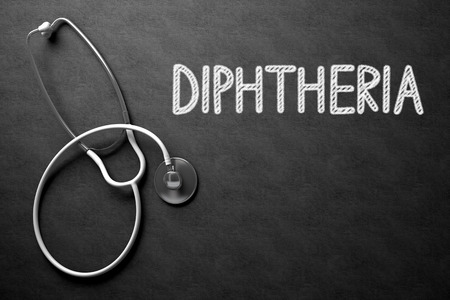 diphtheria: Medical Concept - Diphtheria Handwritten on Black Chalkboard. Top View Composition with Chalkboard and White Stethoscope. Medical Concept: Black Chalkboard with Diphtheria. 3D Rendering. Stock Photo
