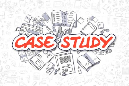 discus: Case Study - Sketch Business Illustration. Red Hand Drawn Inscription Case Study Surrounded by Stationery. Cartoon Design Elements.