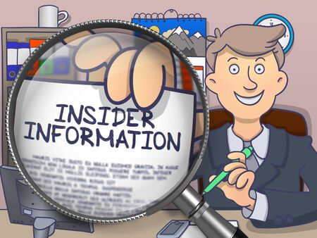 insider: Businessman in Suit Showing a Paper with Concept Insider Information Concept through Lens. Closeup View. Colored Doodle Illustration. Stock Photo