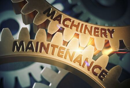 remedial: Machinery Maintenance - Illustration with Glow Effect and Lens Flare. Golden Cogwheels with Machinery Maintenance Concept. 3D Rendering.