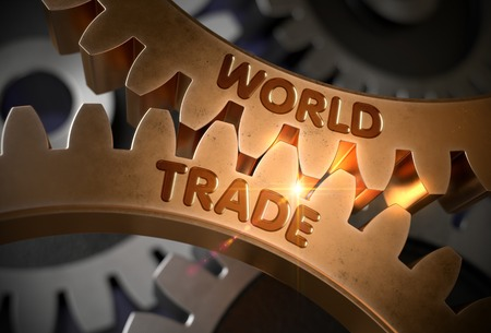 world trade: World Trade on the Mechanism of Golden Cog Gears with Glow Effect. World Trade - Illustration with Lens Flare. 3D Rendering.