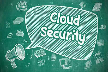 ddos: Business Concept. Loudspeaker with Wording Cloud Security. Cartoon Illustration on Blue Chalkboard. Cloud Security on Speech Bubble. Cartoon Illustration of Screaming Megaphone. Advertising Concept.