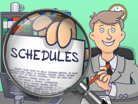 injunction: Schedules. Paper with Text in Business Mans Hand through Magnifying Glass. Colored Doodle Illustration. Stock Photo