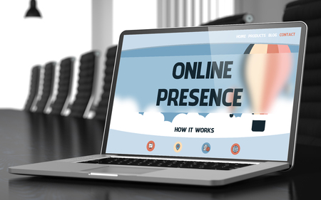 web presence internet presence: Laptop Display with Online Presence Concept on Landing Page. Closeup View. Modern Conference Room Background. Toned Image with Selective Focus. 3D Illustration. Stock Photo