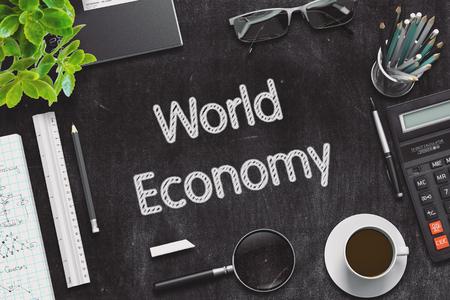 relaciones laborales: Economía Mundial - pizarra Negro con dibujados a mano texto y efectos de escritorio. Vista superior. Representación 3d. Ilustración tonificado.