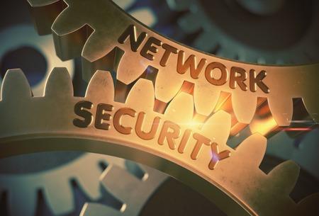 Network Security on Mechanism of Golden Metallic Cogwheels with Lens Flare. Golden Metallic Gears with Network Security Concept. 3D Rendering.