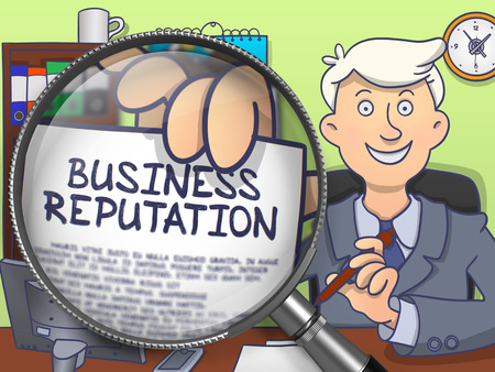 Business Reputation. Business Man Showing Paper with Text through Magnifier. Multicolor Doodle Style Illustration. Stock Photo