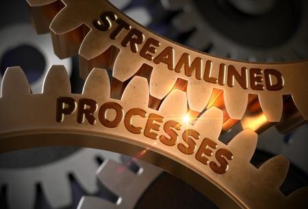 Gestroomlijnde processen - Concept. Gestroomlijnde processen - illustratie met gloeiend lichteffect. 3D-weergave. Stockfoto