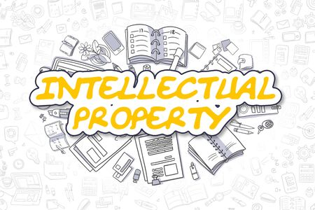 intellectual: Intellectual Property - Hand Drawn Business Illustration with Business Doodles. Yellow Word - Intellectual Property - Cartoon Business Concept. Stock Photo