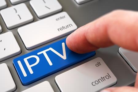 middleware: Man Finger Pushing IPTV Blue Key on Computer Keyboard. 3D Illustration. Stock Photo