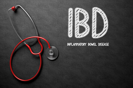 ulcerative: Black Chalkboard with IBD - Inflammatory Bowel Disease - Medical Concept. Medical Concept: Black Chalkboard with IBD - Inflammatory Bowel Disease. 3D Rendering.