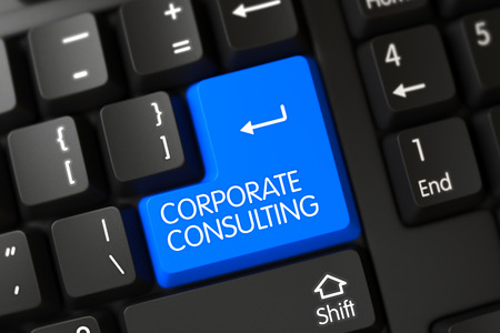 corporate consulting: Corporate Consulting Concept: Modernized Keyboard with Selected Focus on Blue Enter Keypad. 3D. Stock Photo
