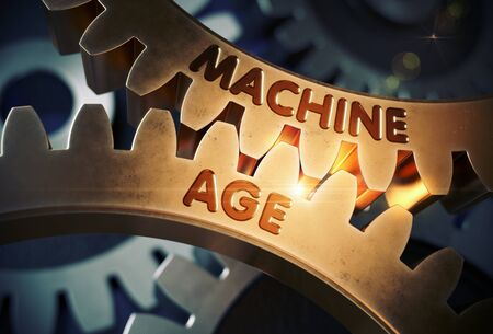damping: Golden Metallic Cogwheels with Machine Age Concept. Machine Age on Mechanism of Golden Metallic Gears. 3D Rendering. Stock Photo