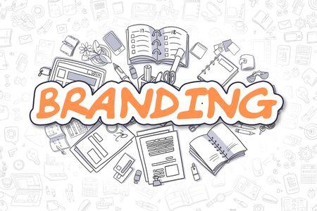 Ilustración de Doodle de Branding de inscripción naranja y papelería rodeado de iconos de dibujos animados. Concepto de negocio para banners web y materiales impresos. Foto de archivo