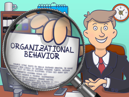 viewpoints: Organizational Behavior. Officeman in Office Workplace Showing a through Magnifying Glass Text on Paper. Multicolor Doodle Illustration.