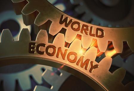 relaciones laborales: Economía Mundial - Ilustración con efectos de luz brillante. Economía Mundial - Diseño técnico. Representación 3D.