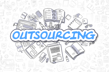 Cartoon Illustration of Outsourcing, Surrounded by Stationery. Business Concept for Web Banners, Printed Materials. Banco de Imagens