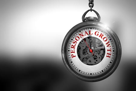 superacion personal: Concepto de negocio: reloj de bolsillo de la vendimia con el crecimiento personal - texto rojo en la boca. El crecimiento personal en la cara del reloj con la visión cercana del mecanismo del reloj. Concepto de negocio. Representación 3D. Foto de archivo