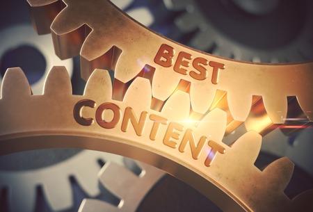 Best Content on the Mechanism of Golden Metallic Cog Gears with Glow Effect. Best Content Golden Metallic Gears. 3D Rendering. Stock Photo