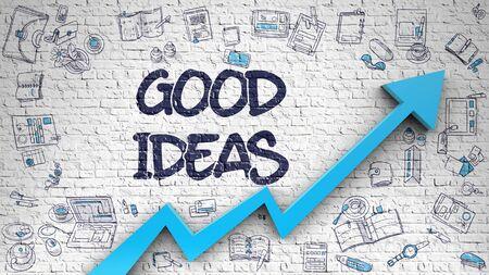 genial: Good Ideas Drawn on White Wall.