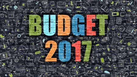 marginal: Budget 2017 Concept with Doodle Design Icons. Stock Photo