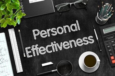 Personal Effectiveness on Black Chalkboard. 3D Rendering.