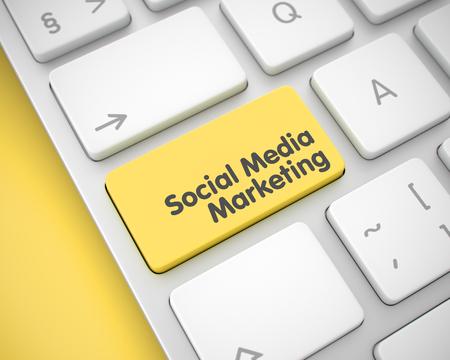 Social Media Marketing - Yellow Keyboard Button. 3D.