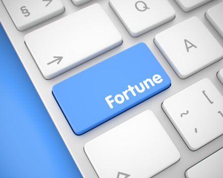 coincidence: Fortune - Inscription on the Blue Keyboard Button. 3D.