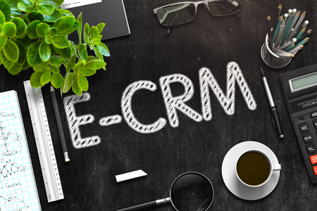 Black Chalkboard with E-CRM Concept. 3D Rendering.