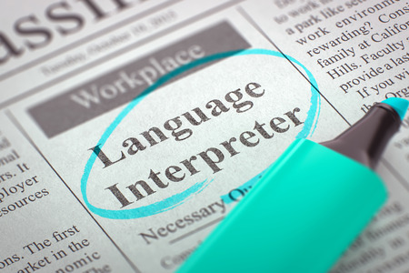 interpreter: Language Interpreter Hiring Now. 3D.