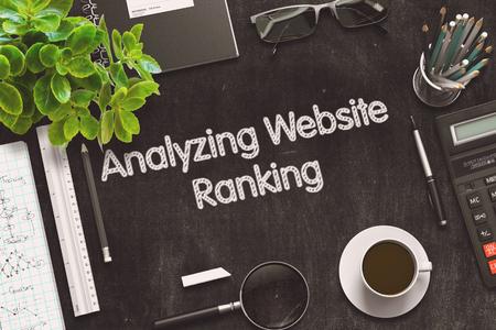 targetting: Analyzing Website Ranking on Black Chalkboard. 3D Rendering.