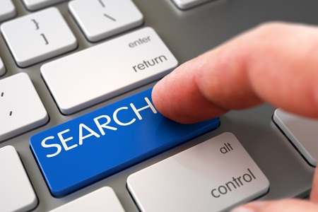 rummage: Hand Touching Search Button. 3D. Stock Photo